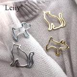 Brooch simples da jóia da forma do Pin do Brooch do cão do gato da cavidade do metal das mulheres