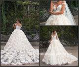 Vestidos de esfera nupciais do laço completo fora do vestido de casamento 2017 G1704 do forro de Champagne do ombro
