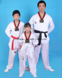 Manga Larga de alta calidad uniforme de Taekwondo palo con el cinturón.