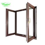 Double vitrage en verre revêtement en aluminium blanc porte d'entrée du bois