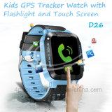 Sos 단추 D26를 가진 접촉 스크린 플래쉬 등 안전 GPS 추적자 시계