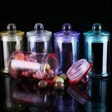 Tarro al por mayor de la vela del color con los sostenedores de vela de cristal de la tapa