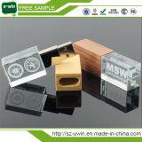 16GB에 의하여 주문을 받아서 만들어지는 자유로운 로고 나무로 되는 결정 USB