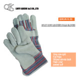 K-31 Grey Split Cow Leather Patched Palm Liner Pasted Cuff Leather Gloves