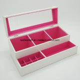 ハンドメイドの白PUの革構成装飾的なボックス宝石箱