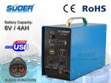Suoer Уникальная солнечная система 6V 4ah Solar Power Generator для домашнего использования солнечной энергии питания с МФУ (ST-A05)