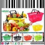 スーパーマーケットの2つのハンドルが付いているプラスチック買物かご