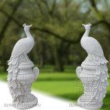 un par de escultura del pavo real, estatua animal
