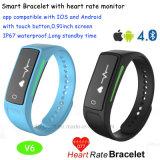 Afficheur OLED Smart Bracelet Bracelet en silicone avec moniteur de fréquence cardiaque V6