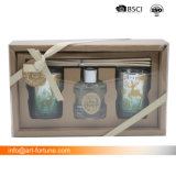 Vela de aroma e difusor de cana na caixa de oferta para a decoração das casas e Dom