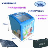 Purswave Sr / Sf-168 168L DC Congelador de caixa solar 12V24V48V Refrigerador de porta de vidro Geladeira Congelador Alimentado por Painel Solar e Bateria -20degree