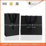 Sac de papier d'emballage noir mat classique pour l'environnement