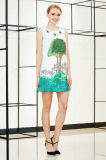 夏の袖なしの配置プリントシフトドレス