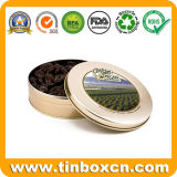 Round Metal Chocolate Can com PVC Window, Chocolate Tin Box