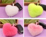 Pelliccia a forma di Keychain di fascino del sacchetto della pelliccia POM del coniglio della sfera della pelliccia del cuore sveglio