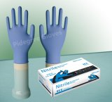Тисненые пальцев темно-синего цвета Порошок свободного одноразовые нитриловые перчатки с маркировкой CE/ISO/FDA утвержденных