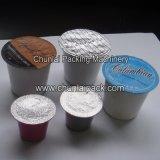 Tipo rotatorio relleno de la taza del polvo del café y máquina del lacre