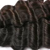 O Weave humano peruano reto de seda do cabelo do Virgin de Remy afrouxa a onda