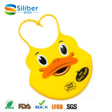 No tóxico en forma de pato de silicona saludable baberos de bebé con bolsillo de Alimentos