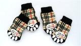 Accessoires pour chien classique Grid Brown Anti-Skid Tricot Pet Socks