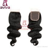 """Encierro medio natural 100% del pelo del color 4X4 Brown Remy de la carrocería de la onda de la pieza del encierro libre brasileño del cordón 10 """" - 22 """""""