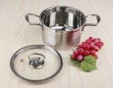 ステンレス鋼Saucepotか誘導の底およびガラスのふたが付いているスープ鍋