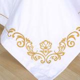 100% algodão branco acetinado Hotel/conjunto de roupa de casa com bordados