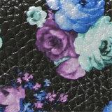 cuoio del PVC stampato fiore di 0.8mm per le borse (715)