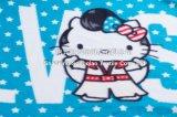 Coperta stampata del panno morbido del poliestere del bambino con ciao il sacchetto della chiusura lampo del gattino