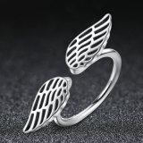 100% 925의 순은 날개 기털 핑거 열려있는 반지