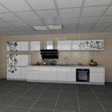 Gabinetes de cozinha brutos elevados da melamina da laca da laca branca Flowery