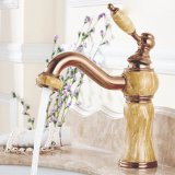 Flg Washroom Basin Jade Painting Faucet with Crystal Handle