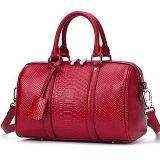 부속품 Emg5074를 가진 악어 작풍 진짜 가죽 운반물 어깨에 매는 가방 디자이너 핸드백