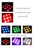Luz sin hilos con pilas de la etapa LED del caso de Rasha 9*10W RGBW/RGBA 4in1 del color DMX LED de la luz plana blanca de la IGUALDAD