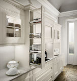 贅沢で白い木製の食器棚の台所家具はとのバスケットを引き出す