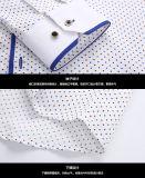 Рубашка шотландки хлопка Mens рубашки круглой шеи длинней