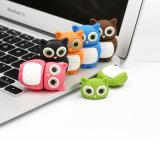 Movimentação personalizada PVC da pena do animal da movimentação do flash do USB da coruja dos desenhos animados