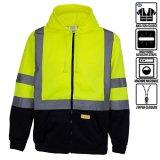 New York Hi-Viz Vêtements de travail des hommes ANSI Classe 3 Classe 3 Haute visibilité Sweat-shirt, Full Zip, léger et à capuchon noir veste polaire Bottohoodies