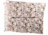 Las señoras multan la borla impresa de acrílico Scarve (ABF22004009) de los mantones