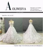 Hochzeits-Kleider der Prinzessin-Strapless mit Kristallrhinestone-Blume