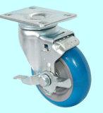 Schwenker PU-Fußrolle mit der Doppelbremse (blau)