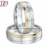 Jóia de traje do dia do Valentim ajustado dos pares originais dos anéis dos pares da faixa de casamento da cor do ouro da aliança