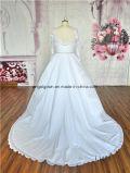 Vestido de esfera de venda quente Ivory do cetim longo branco do laço da luva