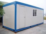 サイトの調節のための電流を通された鉄骨フレームからなされる移動可能なプレハブの容器の家