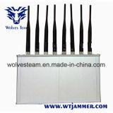 Brouilleur de WiFi de téléphone mobile des antennes 16W 3G 4G de la haute énergie 8 avec le ventilateur de refroidissement