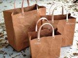 Bolsa de papel lavable bolsa de estilo simple bolso de compras Kraft reutilizable