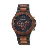 日本Movt水晶腕時計のステンレス鋼の背部木製の腕時計の人
