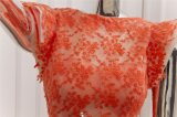 Orange Spitze Tulle mit Removeable langem Serien-Abend-Kleid