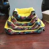 黄色いキャンバス暖かいペットベッド供給、犬または猫の犬小屋