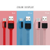 편평한 1m 다채로운 파동 무늬 3FT USB 데이터 케이블
